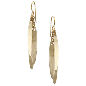 Layered Long Rounded Leaves Earring
