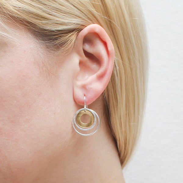 Cutout Disc with Hammered Rings Earring