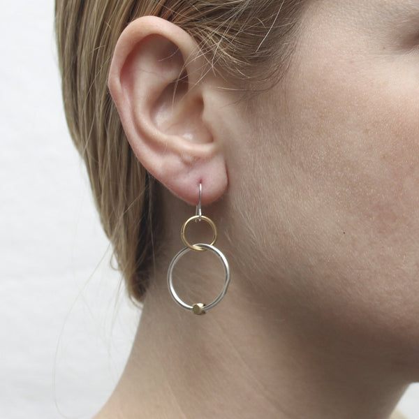 Interlocking Rings with Bead Wire Earring