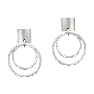 Convex Square with Tiered Hammered Rings Post Earring