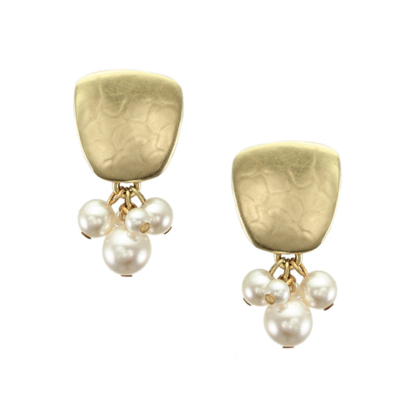 Brass Post or Clip on Pearl Earrings