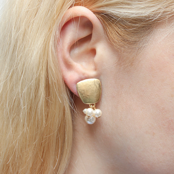 Tapered Square with Clustered Cream Pearls Clip or Post Earring