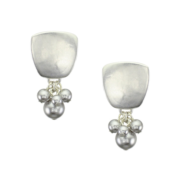 Silver Tapered Square with Clustered Cream Pearls Clip or Post Earring