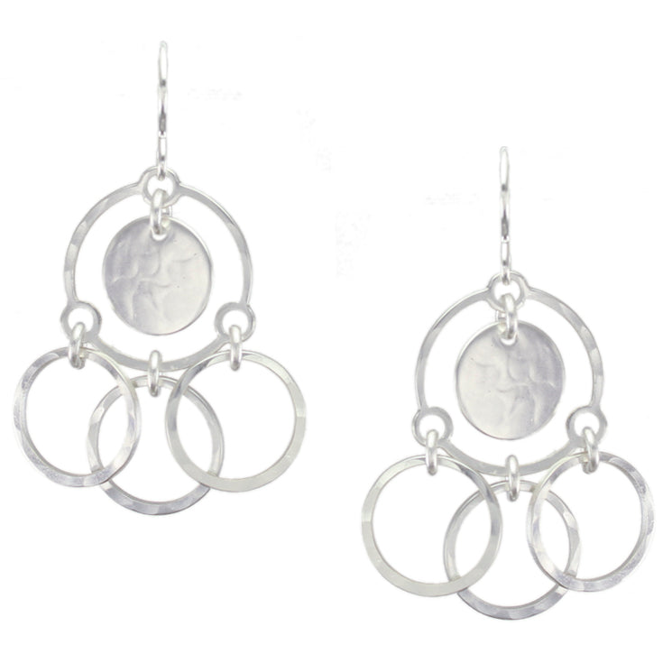 Tiered Rings with Disc Wire Earring