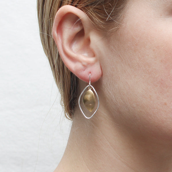 Leaf with Leaf Ring Wire Earring