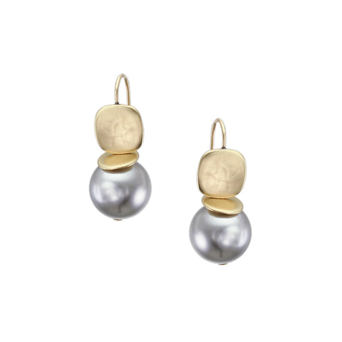 Rounded Square with Flat Disc and Grey Pearl Earring