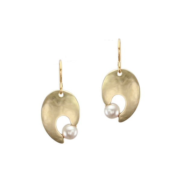 Cutout Leaf with Cream Pearl Earring