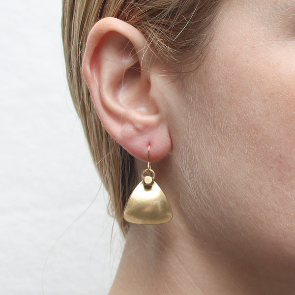 Rounded Triangle with Bead and Ring Wire Earring