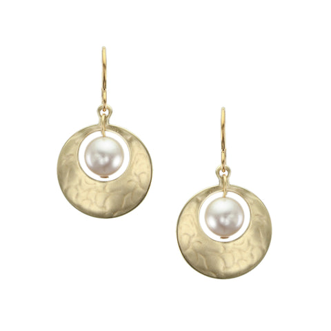 Small Cutout Disc with Cream Pearl Earring