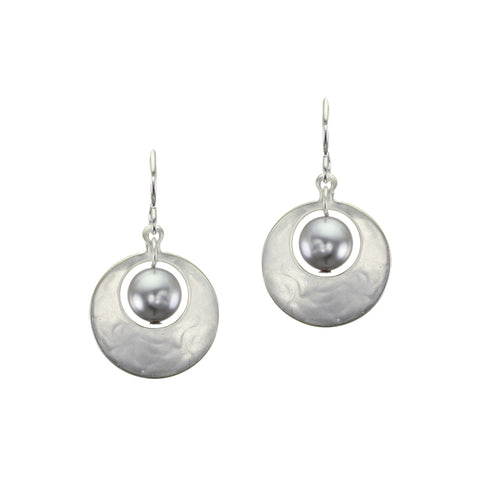 Small Cutout Disc with Grey Pearl Earring