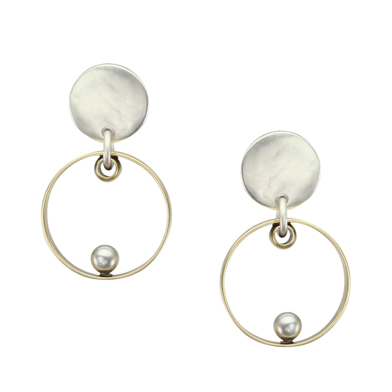 Disc with Thin Rim and Grey Pearl Post Earring