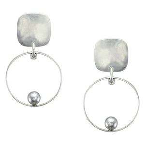 Rounded Square with Thin Rim and Grey Pearl Post Earring