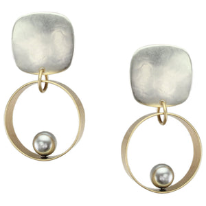 Rounded Square with Wide Rim and Grey Pearl Clip or Post Earring