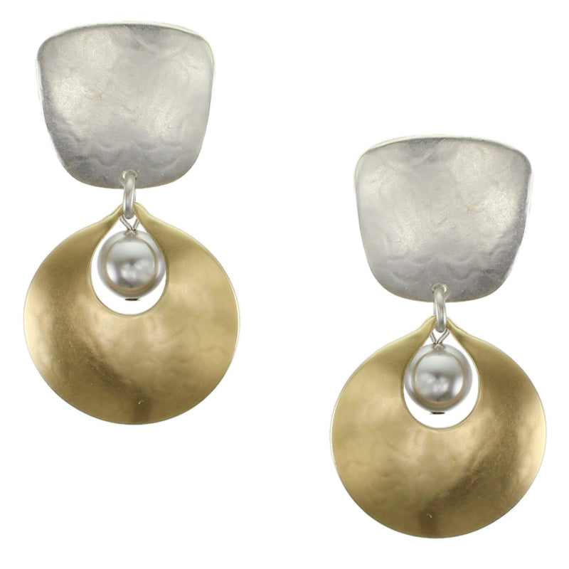 Brass and Silver  Post or Clip on Pearl Earrings