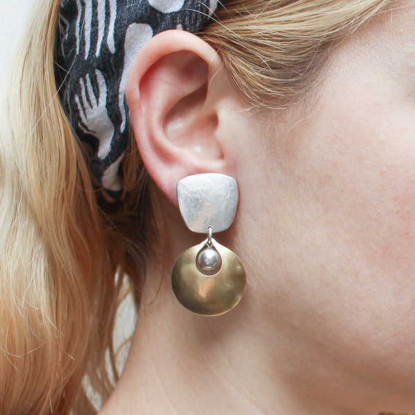 Tapered Square with Cutout Disc and Grey Pearl Clip or Post Earring