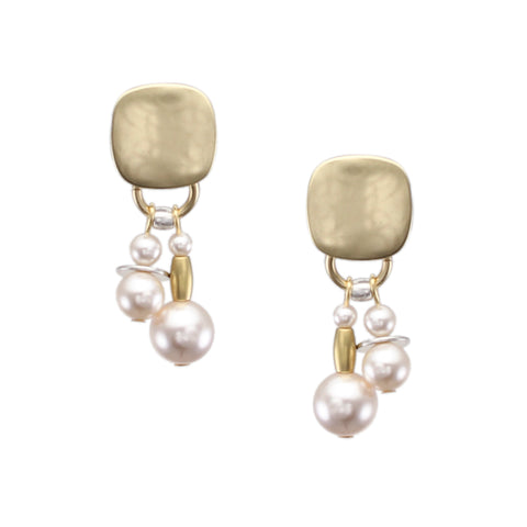 Rounded Square with Cream Pearls, Flat Discs and Beads Post Earring