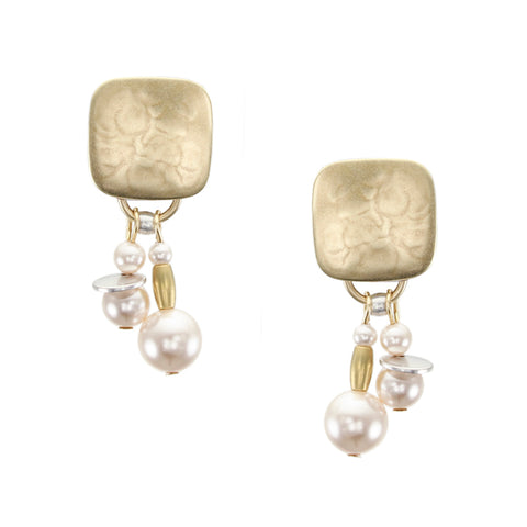Rounded Square with Cream Pearls, Flat Discs and Beads Clip Earring