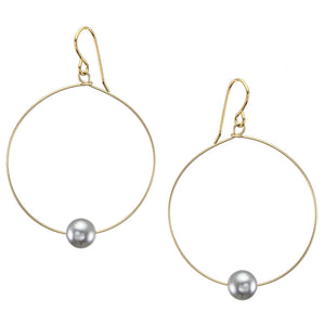 Medium Hoop with Grey Pearl Earring