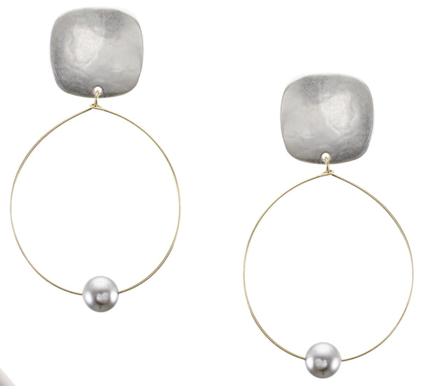 Rounded Square with Delicate Hoop and Pearl Clip or Post Earring