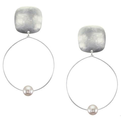 Rounded Square with Delicate Hoop and Pearl Clip or Post Earring in All Silver