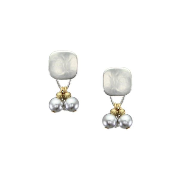 Rounded Square with Bead and Grey Pearl Drops Earring