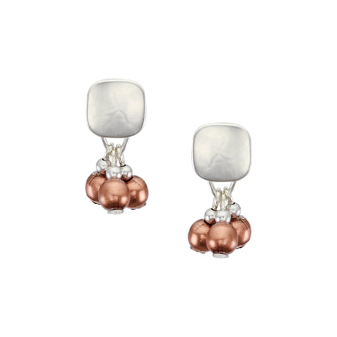 Small Rounded Square with Ring and Beads Post Earring