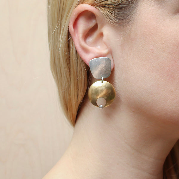 Tapered Square with Crescent and Pearl Clip Earring