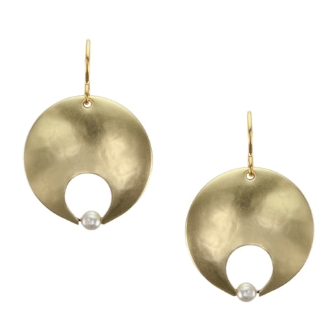 Cutout Disc with Cream Pearl Earring
