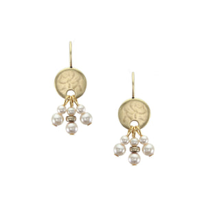 Petite Hammered Disc with Cream Pearl Dangles Earring