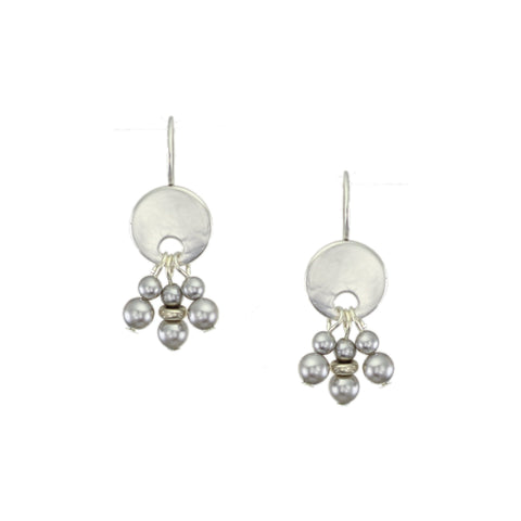 Petite Hammered Disc with Grey Pearl Dangles Earring