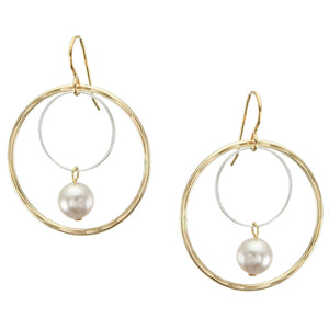 Large Wire Rings with Cream Pearl Drop Earring