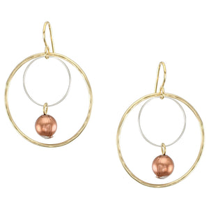 Medium Double Wire Rings with Bead Earring