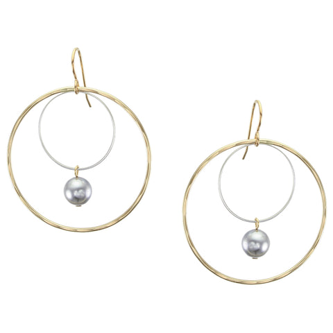 Extra Large Wire Rings with Grey Pearl Drop Earring