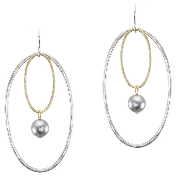 Large Oval Wire Rings with Grey Pearl Drop Earring