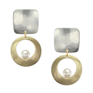 Brass and SilverPost or Clip on Pearl Earrings