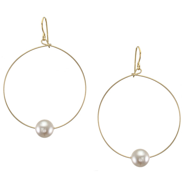 Large Hoop with Cream Pearl Earring