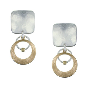 Square with Cutout Disc with Ring and Bead Post or Clip Earring