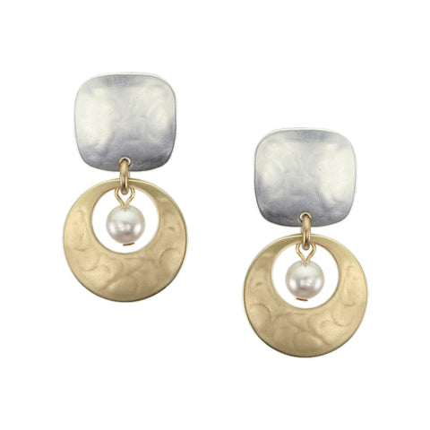Rounded Square with Cutout Disc and Cream Pearl Clip Earring