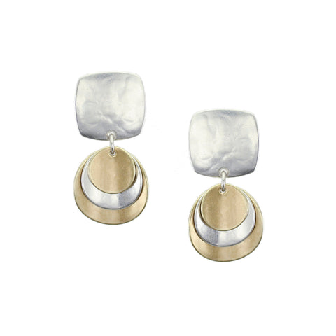 Small Rounded Square with Layered Convex Discs Earring