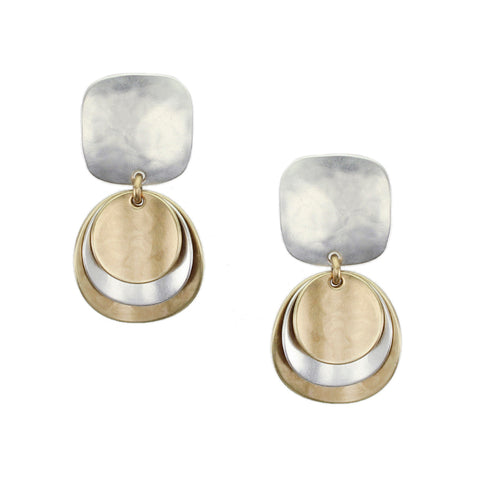 Medium Rounded Square with Layered Convex Discs Earring