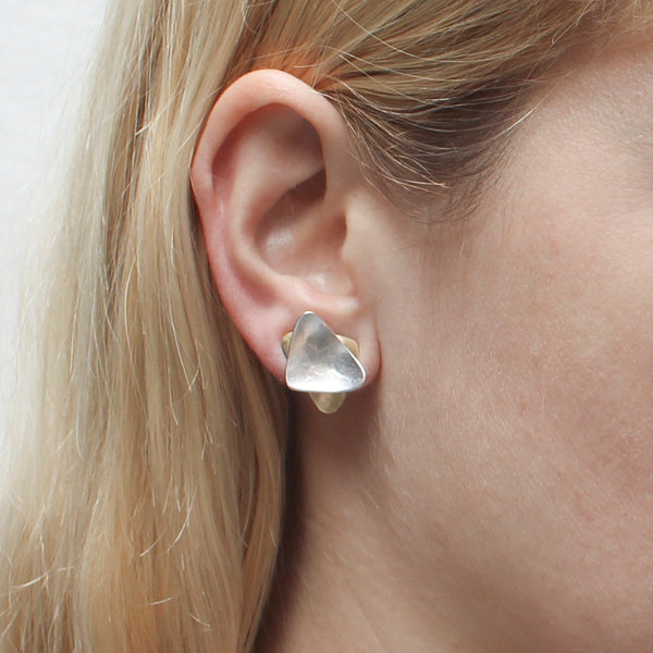 Small Stacked Triangles Clip Earring