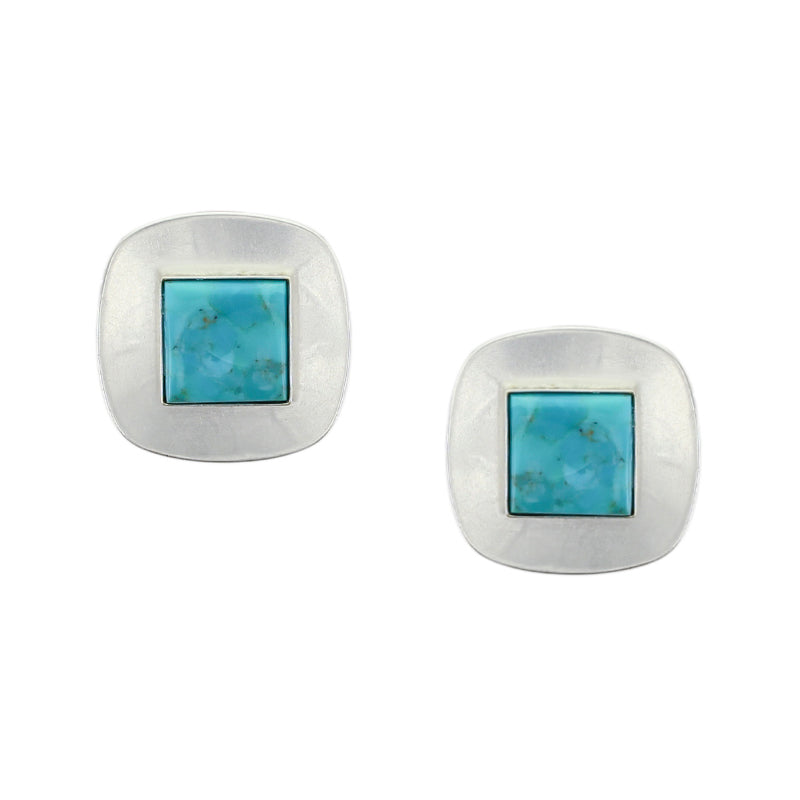 Medium Silver Rounded Square with Turquoise Clip Earring