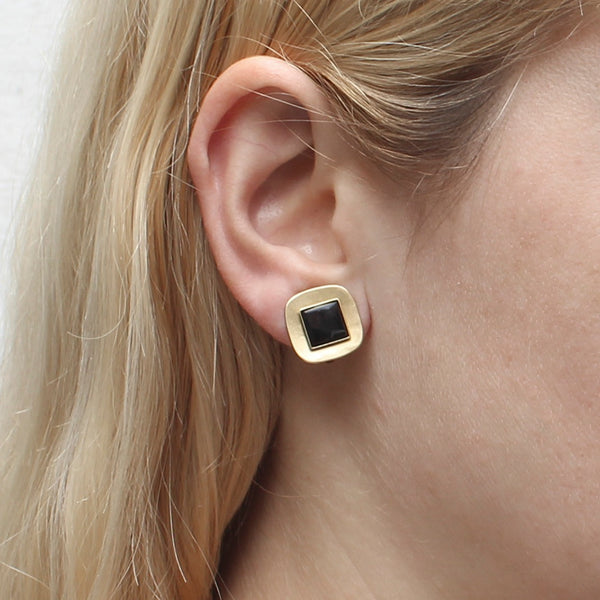 Small Brass Rounded Square with Gemstone Clip Earring