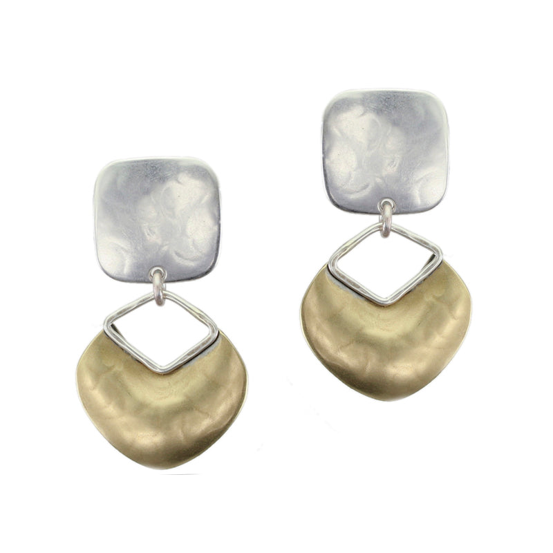 Small Rounded Square with Organic Disc with Cutout Earring