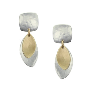 Small Rounded Square with Layered Leaves Earring