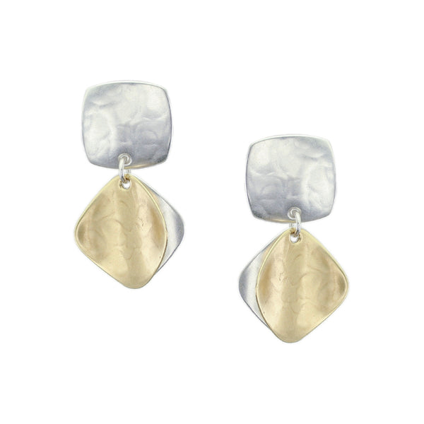 Rounded Square with Back to Back Diamond Shapes Earring
