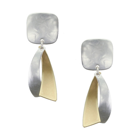Small Rounded Square with Convex and Concave Tapers Earring
