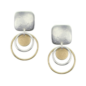 Small Rounded Square with Hammered Rings and Disc Earring