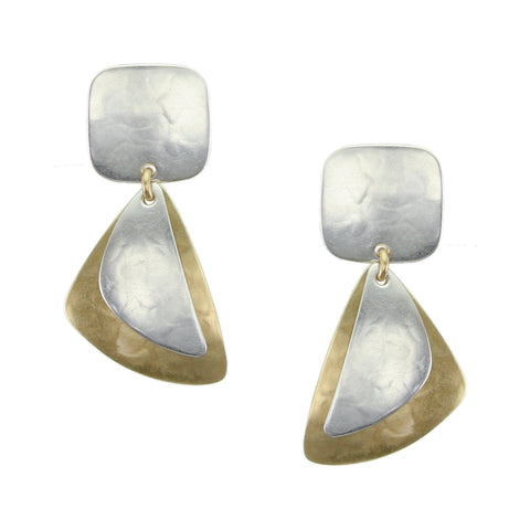 Small Rounded Square with Layered Fins Earring