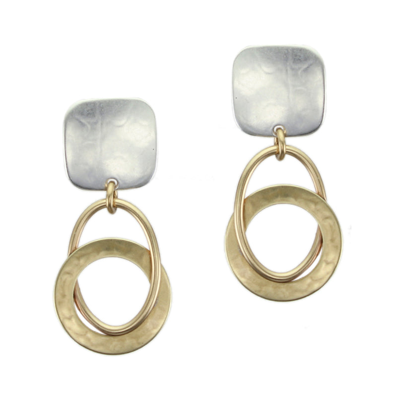 Rounded Square with Interlocking Rings Earring